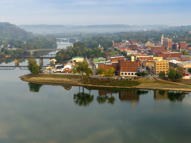 Marietta, Ohio at the mouth of the Muskingum River as it enters the Ohio. (Photo by Christopher Boswell/Marietta Main Street)